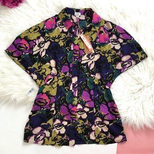 Wilfred Silk floral purple button tropical